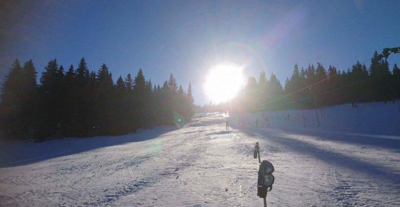 śnieg, narty, stok